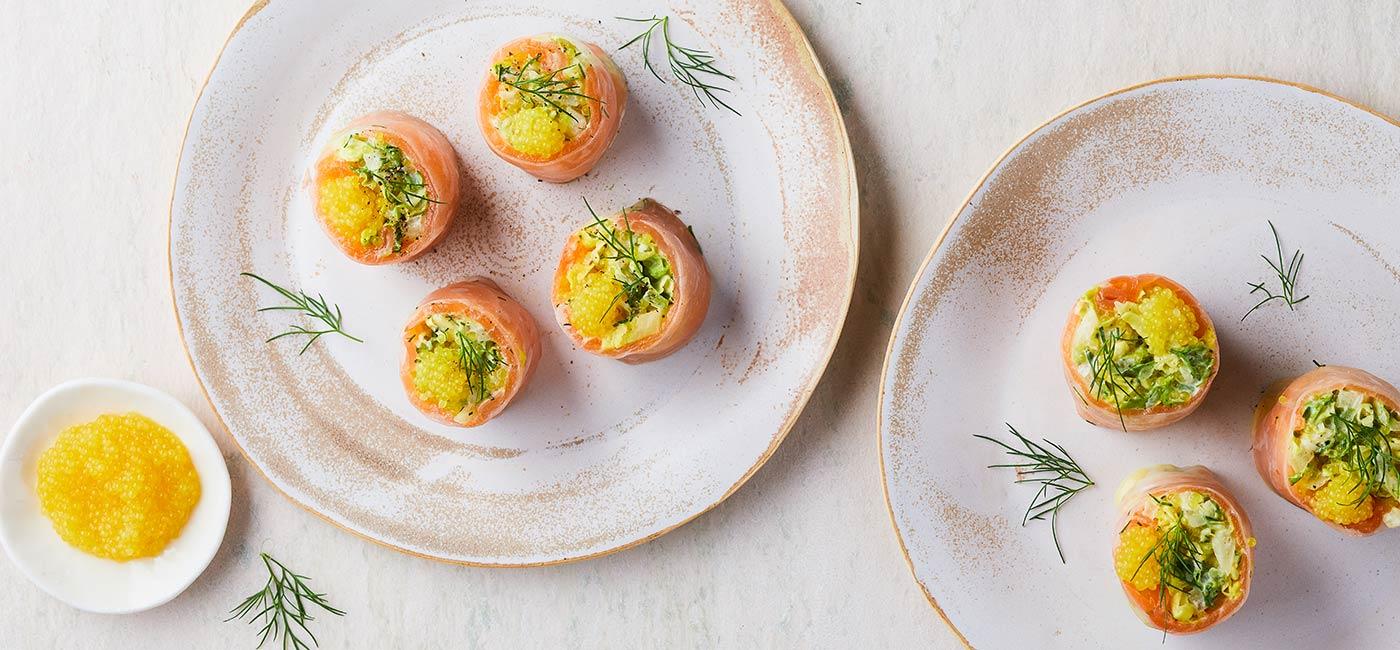 Makis au saumon fumé et aux œufs de brochet au yuzu par Bruno Doucet