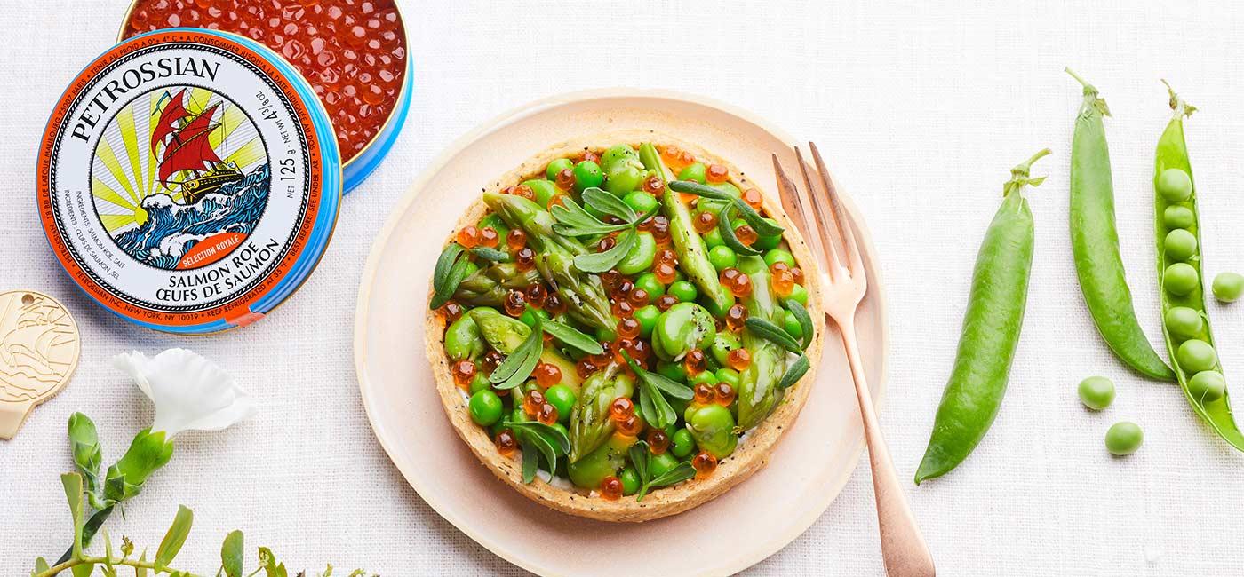 Tartelettes ricotta, légumes et œufs de saumon