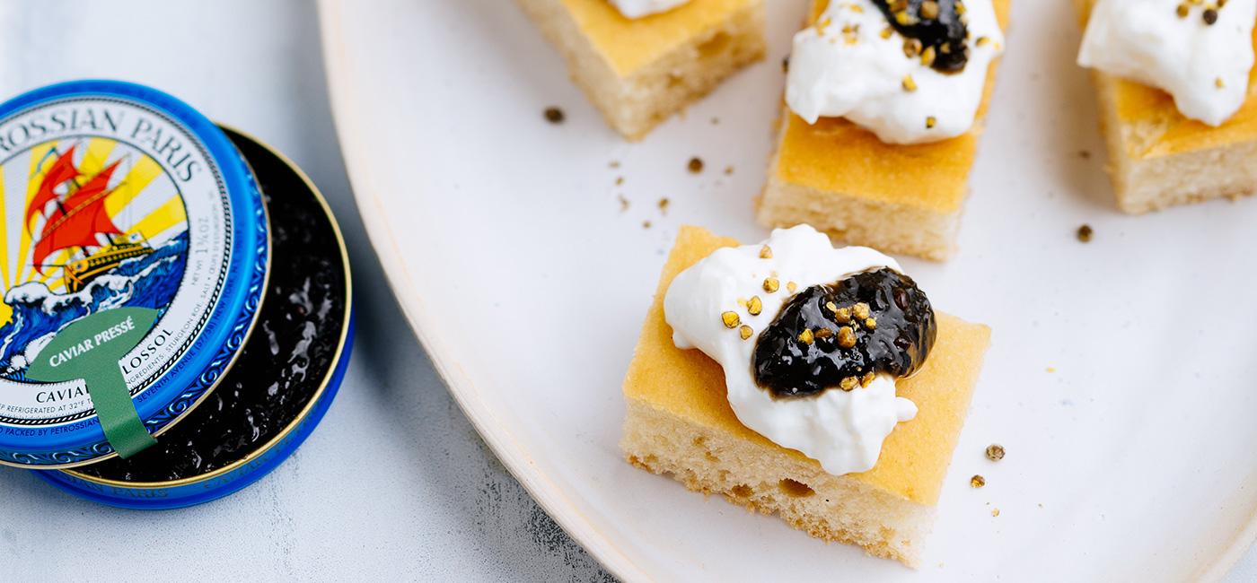 Focaccia Caviar Pressé, Burrata & Fleur de caviar