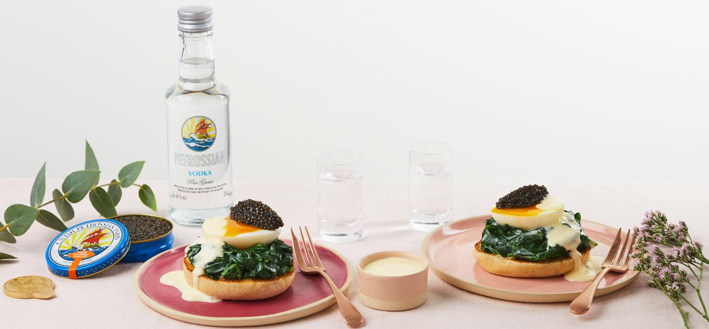 Œufs à la florentine et caviar Ossetra