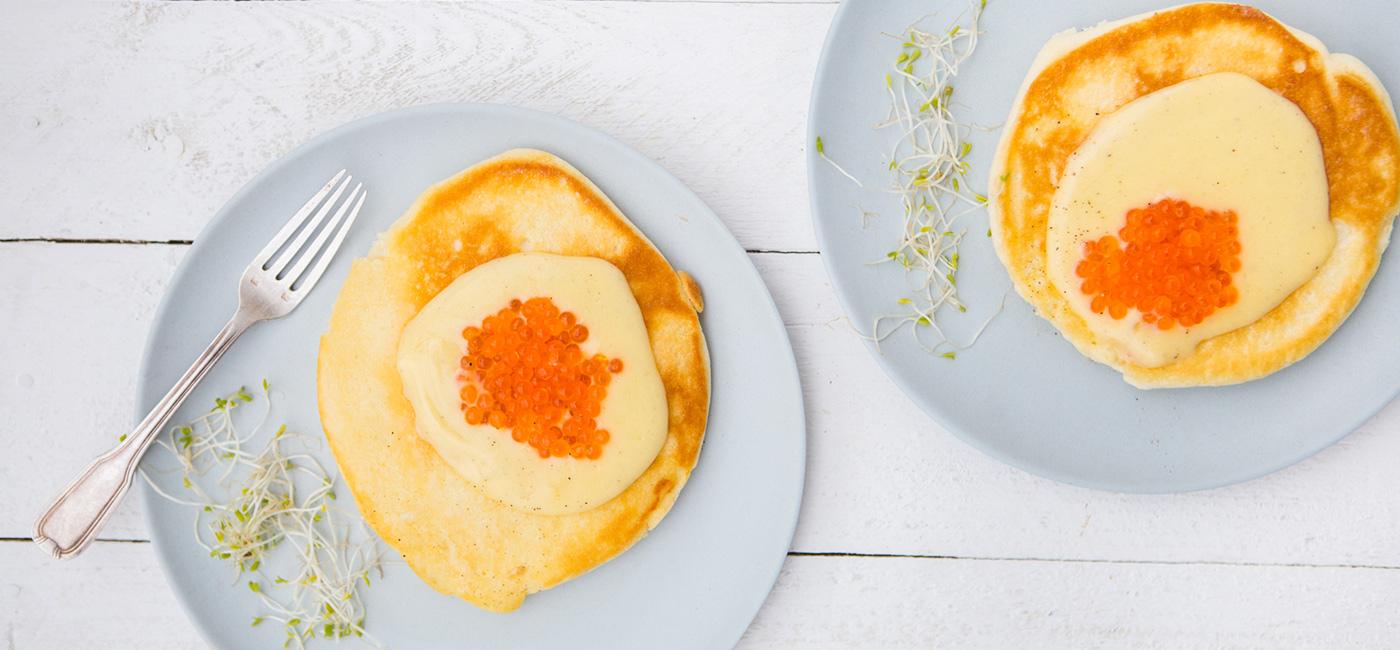 Fluffy pancakes aux œufs de truite façon Bénédicte