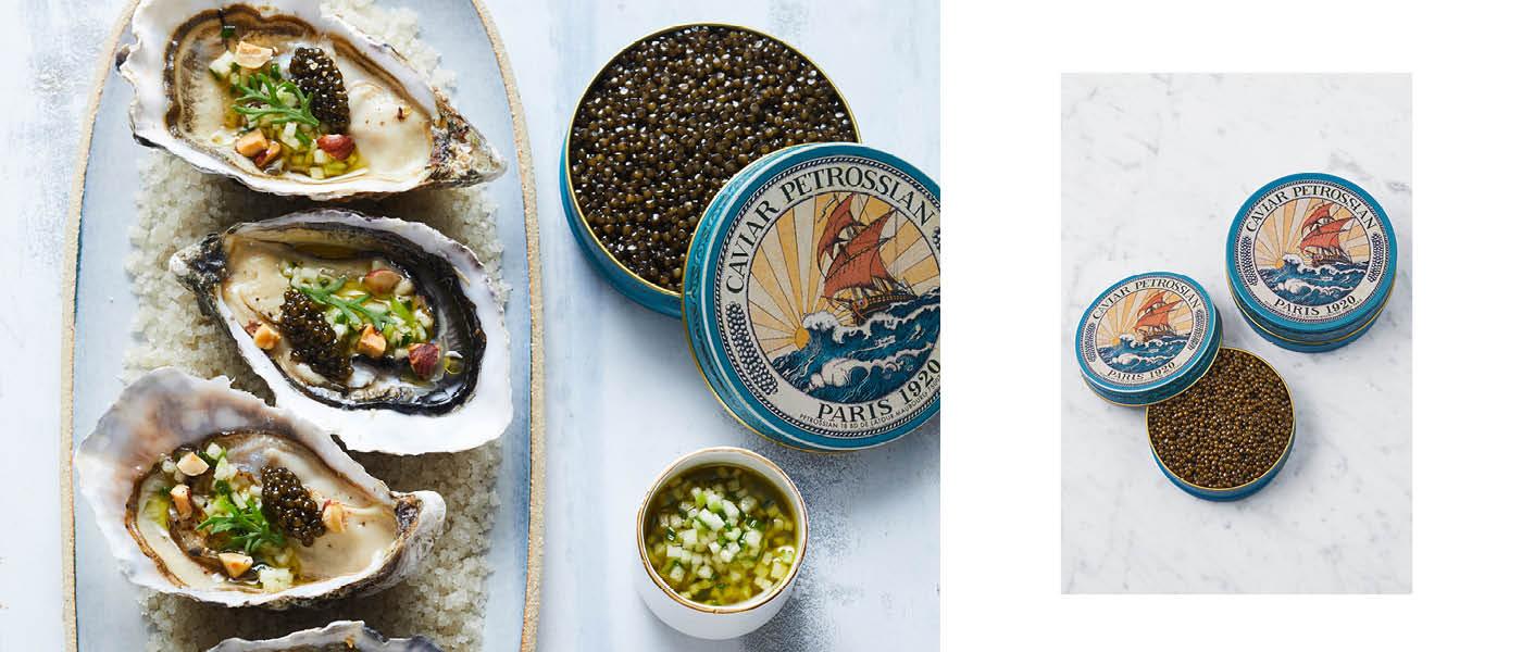 Huître au caviar