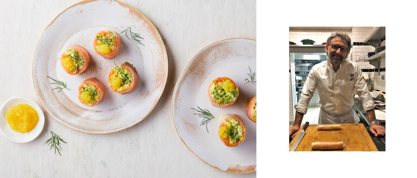 Makis au saumon fumé et aux œufs de brochet au yuzu